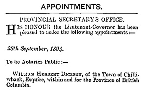 British Columbia Gazette, October 4, 1894, page 902 (selected portions of document); https://archive.org/stream/governmentgazett34nogove_u7p8#page/902/mode/1up.
