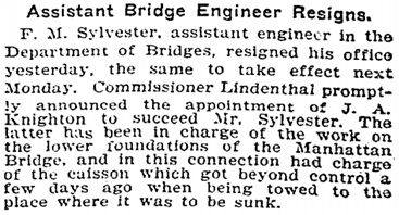 """Assistant Bridge Engineer Resigns,"" New York Times, August 1, 1903, page 6; http://query.nytimes.com/gst/abstract.html?res=990DE1D91339E333A25752C0A96E9C946297D6CF&legacy=true."