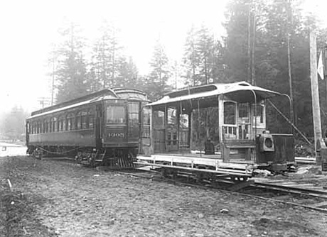 B.C.E.R. Co. interurban and open car at Hastings Park, between 1908 and 1911; Philip Timms, photographer, Vancouver Public Library; VPL Accession Number: 7482; http://www3.vpl.ca/spePhotos/LeonardFrankCollection/02DisplayJPGs/342/7482.jpg.