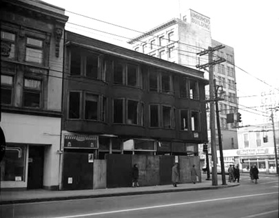 Boarded-up building at the south-east corner of Pender and Richards Streets, December 1955; Vancouver Public Library, VPL Accession Number: 43391; http://www3.vpl.ca/spePhotos/LeonardFrankCollection/02DisplayJPGs/741/43391.jpg