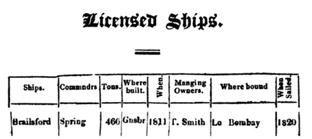 The Register of Shipping for 1821, Society of Merchants, Shipowners and Underwriters; London, printed by C. F. Seyfang, 1820; reprinted by Gregg Press, London, unknown date; unpaged; https://books.google.ca/books?id=EVfNX__5ZZsC&pg=RA19-PA1820&lpg=RA19-PA1820&dq=brailsford#v=onepage&q=brailsford&f=false.