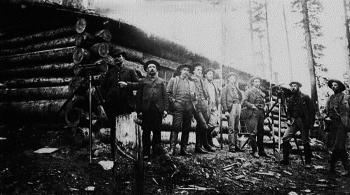Canadian Pacific Railway engineers' camp near Summit, Rogers Pass, British Columbia, 1885. Glenbow Archives, File number: NA-4428-9, 1885. C.A. Stoess, second from right.