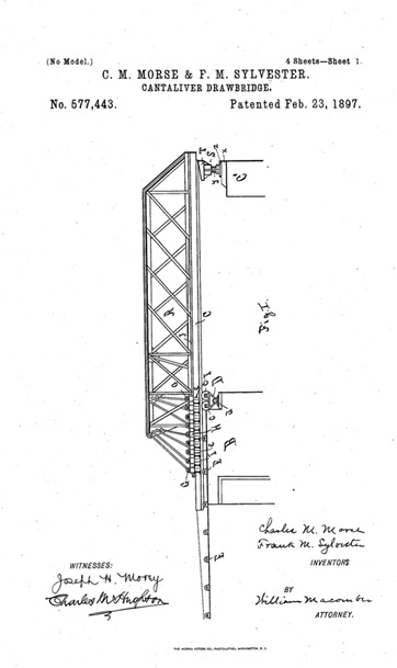 Cantaliver drawbridge, C. M. Morse and F. M. Sylvester, US Patent 577443 A; https://patentimages.storage.googleapis.com/pages/US577443-0.png.