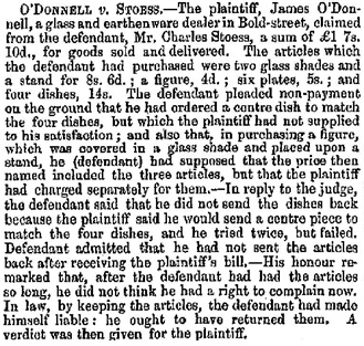 """County Court,"" Liverpool Mercury (Liverpool, England), November 12, 1852, page 3."