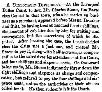"""Liverpool News,"" Glasgow Herald (Glasgow, Scotland), Issue 8072, November 20, 1865; page 4."