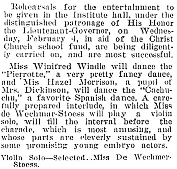"""""""Grand Entertainment,"""" Victoria Daily Colonist, February 1, 1903, page 2; [selected portions]; http://archive.org/stream/dailycolonist19030201uvic/19030201#page/n1/mode/1up"""