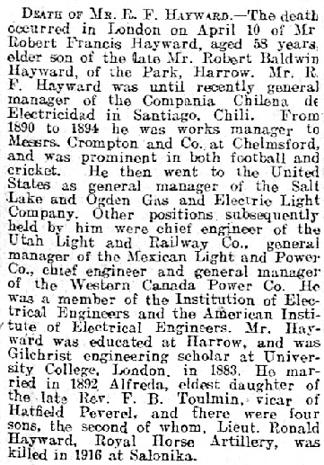 """""""Death of Mr. R.F. Hayward,"""" Essex Chronicle (Chelmsford, England), issue 8327, April 18, 1924; page 8."""