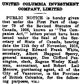 Dee Clifford Pennington, incorporator of United Columbia Investment Company Limited, [selected portion only] Western Call, December 17, 1915, page 7; https://open.library.ubc.ca/collections/bcnewspapers/xwestcall/items/1.0188664#p6z-3r0f