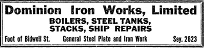 Dominion Iron Works, Limited, Daily Building Record, June 4, 1914, page 3; https://open.library.ubc.ca/collections/bcnewspapers/xdbr/items/1.0177777#p2z-1r0f: