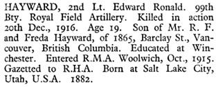 Edward Ronald Hayward, Commonwealth War Graves Commission, http://www.cwgc.org/find-war-dead/casualty/341030/HAYWARD,%20EDWARD%20RONALD [Note: birth year seems incorrect.]