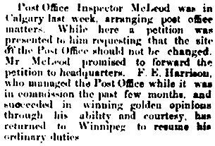 """Personal,"" The Calgary Weekly Herald, May 21, 1885, page 1."
