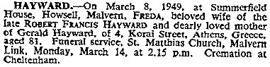 Freda Hayward, death notice, The Times (London, England), issue 51328, March 12, 1949; page 1.