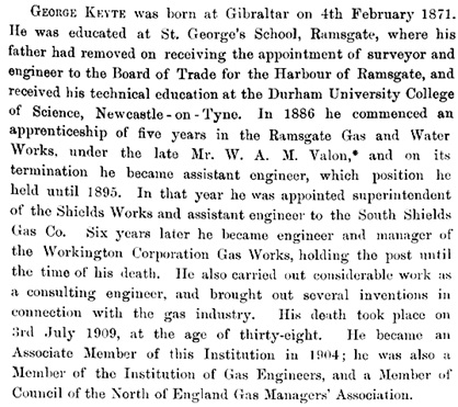 Grace's Guide; 1909 Institution of Mechanical Engineers: February 1909, Obituaries, George Keyte, pages 909-910; http://www.gracesguide.co.uk/images/2/2a/Im1909IME-p0909.jpg; http://www.gracesguide.co.uk/images/d/d6/Im1909IME-p0910.jpg
