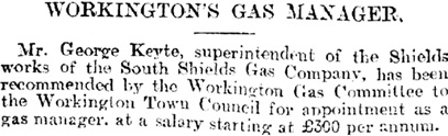 Workington's Gas Manager, Manchester Courier and Lancashire General Advertiser (Manchester, England), issue 13820, February 23, 1901; page 6.
