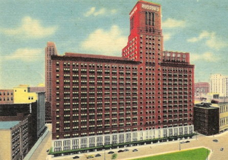 "Vintage Linen Postcard of J.L. Hudson's Department Store, Shopping at the ""Grand Dame"" of Woodward Avenue, http://relevanttealeaf.blogspot.ca/2012/03/shopping-at-grand-dame-of-woodward.html"