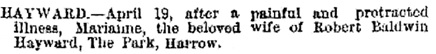 Marianne Hayward, death notice, The Standard (London, England), issue 17396, April 22, 1880; page 1.