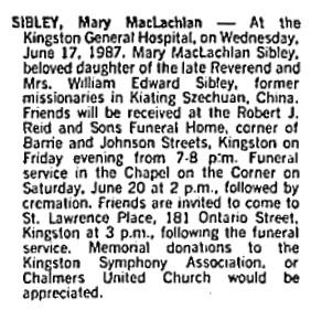 Mary MacLachlan Sibley, death notice, Toronto Globe and Mail, June 19, 1987, page A20