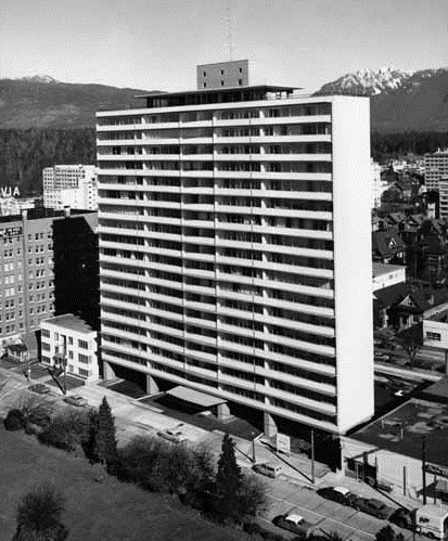 Exterior photograph of Ocean Towers, 1959, Vancouver Public Library, VPL Accession Number: 49487; http://www3.vpl.ca/spePhotos/LeonardFrankCollection/02DisplayJPGs/889/49487.jpg.