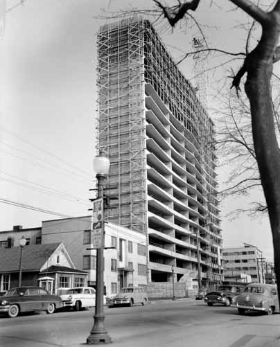 Ocean Towers apartments under construction, April 1959, Vancouver Public Library, VPL Accession Number: 40480; http://www3.vpl.ca/spePhotos/LeonardFrankCollection/02DisplayJPGs/654/40480.jpg