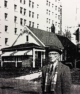 """""""Progress Displaces a Way of Life,"""" Vancouver Times, February 11, 1965, page 1 [George Wall in front of 1883 Beach Avenue.]"""