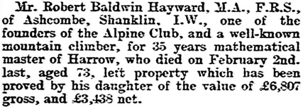 Robert Baldwin Hayward, death notice, The Evening News (Portsmouth, England), issue 8024, March 27, 1903, page 6.