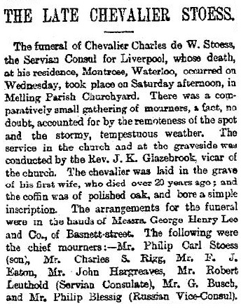 """""""The Late Chevalier Stoess,"""" Liverpool Mercury (Liverpool, England), issue 13493, April 6, 1891, page 6."""