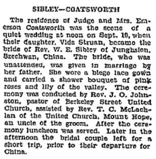 Vida Struan Coatsworth and W.E. Sibley, marriage announcement, Toronto Globe, September 20, 1928, page 16.
