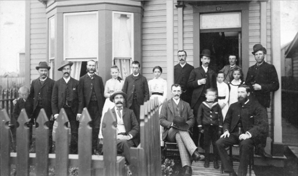 W.H. Gallagher and others on a verandah, 1888; Vancouver City Archives, Port P181; http://searcharchives.vancouver.ca/w-h-gallagher-and-others-on-verandah