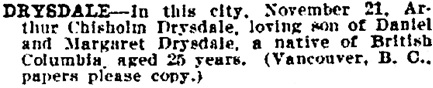 San Francisco Call, Volume 114, Number 165, November 24, 1913, page 13; http://cdnc.ucr.edu/cgi-bin/cdnc?a=d&d=SFC19131124.2.99&srpos=17&e=------191-en--20-SFC-1--txt-txIN-drysdale-------1