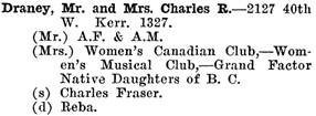 Greater Vancouver Social and Club Register, 1927, page 22.