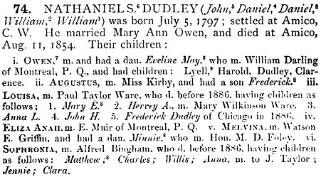 History of the Dudley family : With Genealogical Tables, Pedigrees, &c., by Dudley, Dean; Wakefield, Massachusetts, Dean Dudley, Publisher, 1886, pages 372-373; https://archive.org/stream/historyofdudleyf01dudl#page/372/mode/1up; https://archive.org/stream/historyofdudleyf01dudl#page/373/mode/1up.
