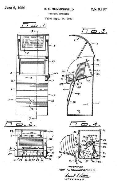 R.H. Summerfield, United States Patent Number 2510197, Vending Machine; https://www.google.com/patents/US2510197
