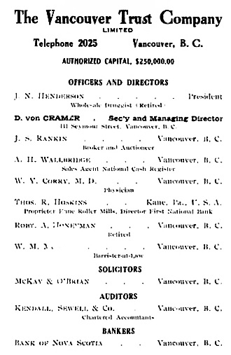 Vancouver Trust Company Limited, Prospectus, 1908, unnumbered page [image 7 of PDF document]; https://archive.org/stream/cihm_99386#page/n6/mode/1up.