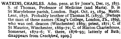 Alumni Cantabrigienses: A Biographical List of All Known Students, Volume 2; part 6; edited by John Venn; Cambridge, University Press, 1954, page 364; https://books.google.ca/books?id=MWSiYp0-AGEC&pg=PA364&lpg=PA364&dq=Hinton+Charterhouse#v=onepage&q=Hinton%20Charterhouse&f=false.