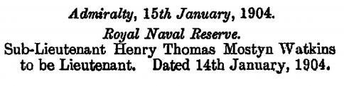 London Gazette, Tuesday, January 19, 1904, page 407; https://www.thegazette.co.uk/London/issue/27637/page/407/data.pdf.