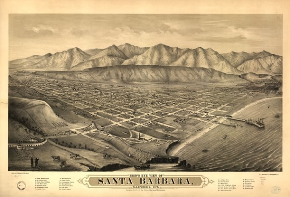 Bird's eye view of Santa Barbara, California, 1877. Looking north to the Santa Barbara Mountains; San Francisco, A.L. Bancroft & Co., lithographers; https://www.loc.gov/item/75693112/.