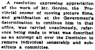 """Race Meets and Films; Presbyterian Synod Deals with Subjects Relating to Local Affairs—Local Censorship is Approved,"" Victoria Daily Colonist, April 8, 1915, page 2, column 3; http://archive.org/stream/dailycolonist57y102uvic#page/n1/mode/1up."