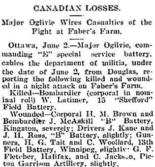 """Canadian Losses,"" Victoria Daily Colonist, June 3, 1900, page 2, column 2; http://archive.org/stream/dailycolonist19000603uvic/19000603#page/n1/mode/1up."