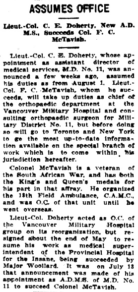 Victoria Daily Colonist, August 6, 1918, page 6, column 4; http://archive.org/stream/dailycolonist60y207uvic#page/n5/mode/1up.