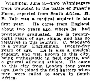 """Wounded at Faber's Farm,"" Toronto Globe, June 4, 1900, page 6, column 4."