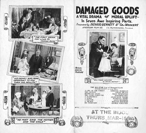Damaged Goods (film), Wikipedia article; https://en.wikipedia.org/wiki/Damaged_Goods_(film); https://en.wikipedia.org/wiki/Damaged_Goods_(film)#/media/File:Damaged-Goods-1914-Herald-B.jpg
