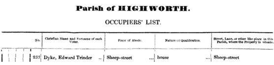 Edward Trinder Dyke, Parish of Highworth, Occupiers' List [about 1852], Cirencester, printed by Edwin Baily, page 10 [selected portions]; https://books.google.ca/books?id=QCJkAAAAcAAJ&pg=PA10&lpg=PA10&dq=%22dyke,+edward+trinder%22#v=onepage&q=%22dyke%2C%20edward%20trinder%22&f=false.