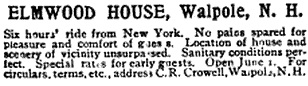 Elmwood House, advertisement, The Christian Union, Volume 47, April 15, 1893, page 735, column 1 (published at Clinton Hall, Astor Place, New York); https://books.google.ca/books?id=WLVNAQAAMAAJ&pg=PA735&lpg=PA735&dq=%22c.r.+crowell%22#v=onepage&q=%22c.r.%20crowell%22&f=false.