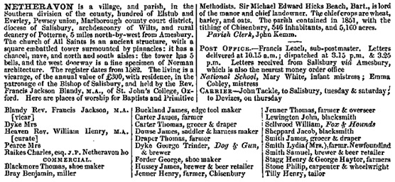 Kelly's Directory of Wiltshire, 1867, page 314; Netheravon; http://specialcollections.le.ac.uk/cdm/ref/collection/p16445coll4/id/339947.