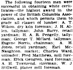 """Lumbermen are Given Awards; Certificates Presented at Banquet of Nanaimo Lumber Co. Employees,"" Victoria Daily Colonist, May 10, 1929, page 11, column 4; http://archive.org/stream/dailycolonist529uvic_10#page/n10/mode/1up."