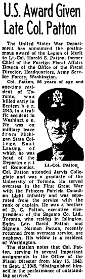 """U.S. Award Given Late Col. Patton,"" Toronto Globe and Mail, January 9, 1946, page 7."