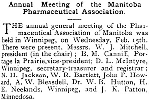 Canadian Pharmaceutical Journal, March 1888, volume 21, number 8, page 133, column 1; https://books.google.ca/books?id=WGMCAAAAYAAJ&pg=PA133&lpg=PA133&dq=%22j.k.+patton%22#v=onepage&q=%22j.k.%20patton%22&f=false.