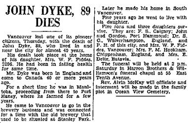 """""""John Dyke Dies,"""" Vancouver Sun, May 12, 1933, page 13; https://news.google.com/newspapers?id=hS9lAAAAIBAJ&sjid=24gNAAAAIBAJ&pg=2454%2C1173459."""