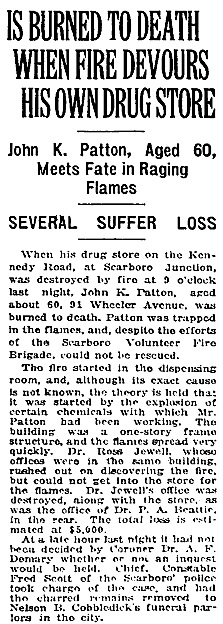 """Is Burned to Death When Fire Devours His Own Drug Store,"" Toronto Globe, February 13, 1925, page 9, column 2."
