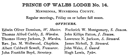 Proceedings of the Grand Lodge of Manitoba, Ancient, Free and Accepted Masons; Winnipeg, Walker and May, 1884, page 91; https://books.google.ca/books?id=ViNHAQAAMAAJ&pg=RA1-PA91&dq=%22john+killips+patton%22#v=onepage&q=%22john%20killips%20patton%22&f=false.
